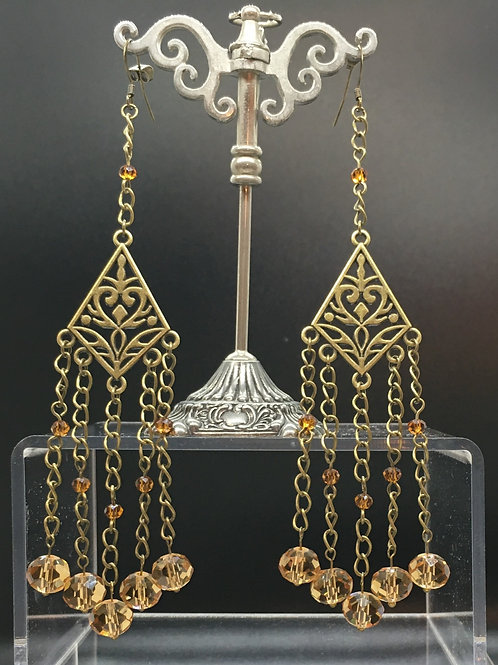 Antique Gold Champagne Crystal Earrings