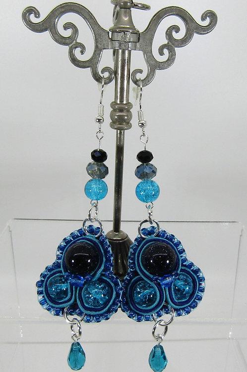 Blue Goldstone Teardrop Earrings
