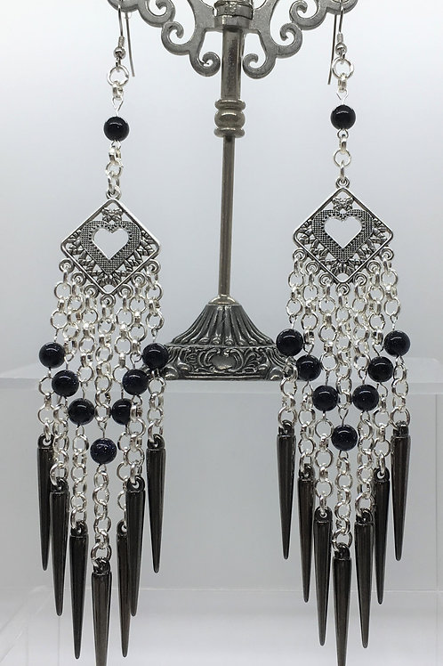 Gunmetal Spike Diamond Heart Earrings