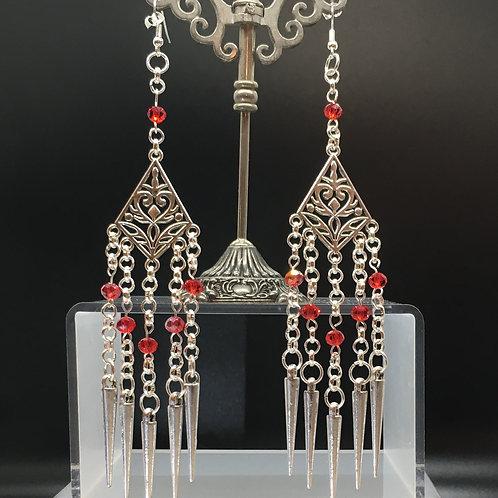 Red Tibetan Style Charm Earrings
