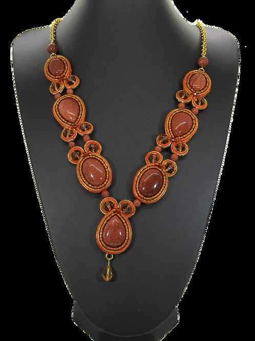 Gold Sandstone Drop Necklace