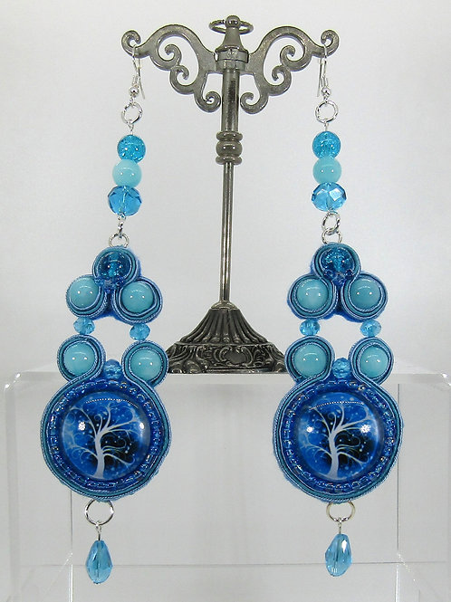 Tree of Life Blue Cabochon Earrings