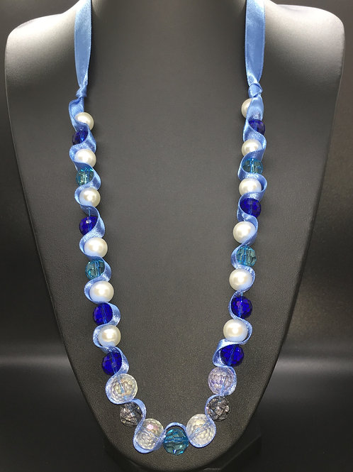Large Blue and Pearl Necklace
