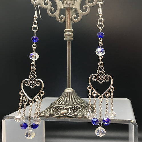 Blue and White Heart Charm Earrings