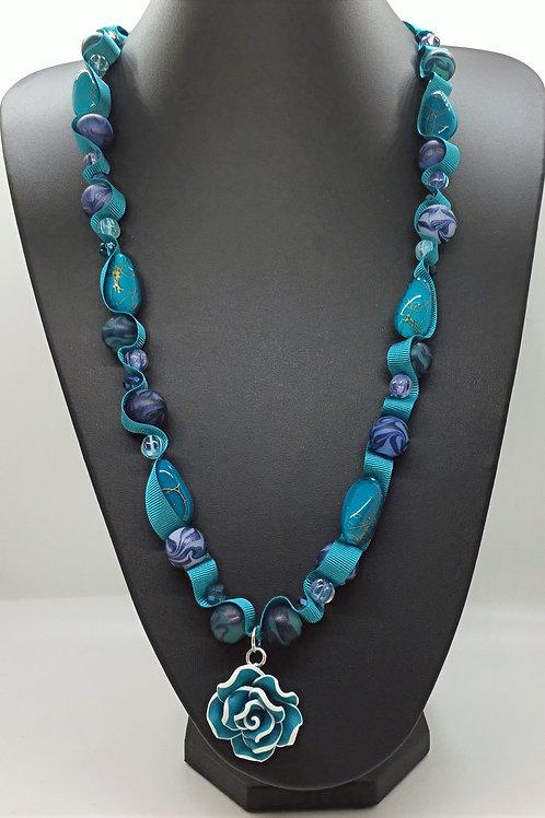 Blue Wave Rose Necklace