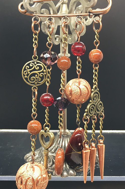 Antique Copper Spiral Kilt Pin Brooch