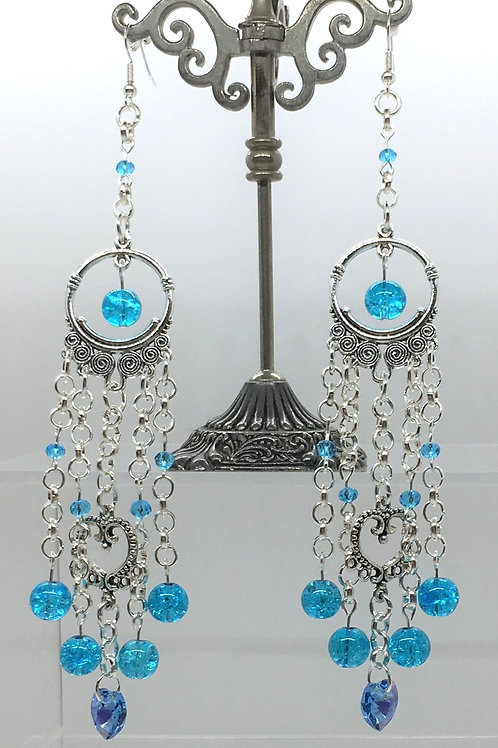 Swarovski Blue Heart Crackle Earrings