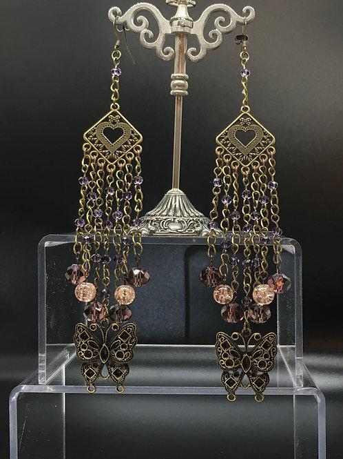 Antique Gold Diamond Heart Butterfly Earrings