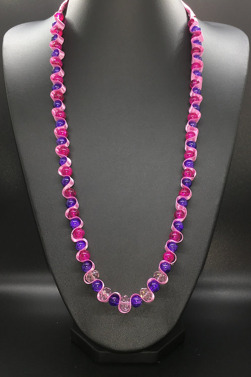 Pink and Purple Crackle Necklace