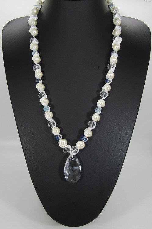 Large Pearl Swarovski Pear Drop Crystal Necklace