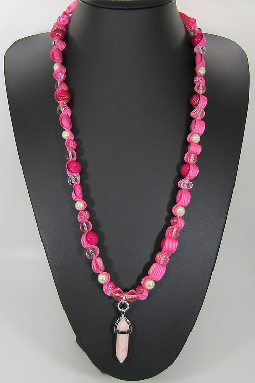 Opaque Pink and Pearl Chakra Necklace