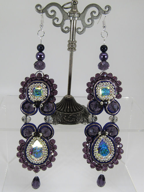 Swarovski Purple Imperial Crystal Earrings