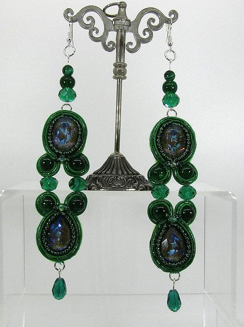 Swarovski Crystal Green Drop Earrings