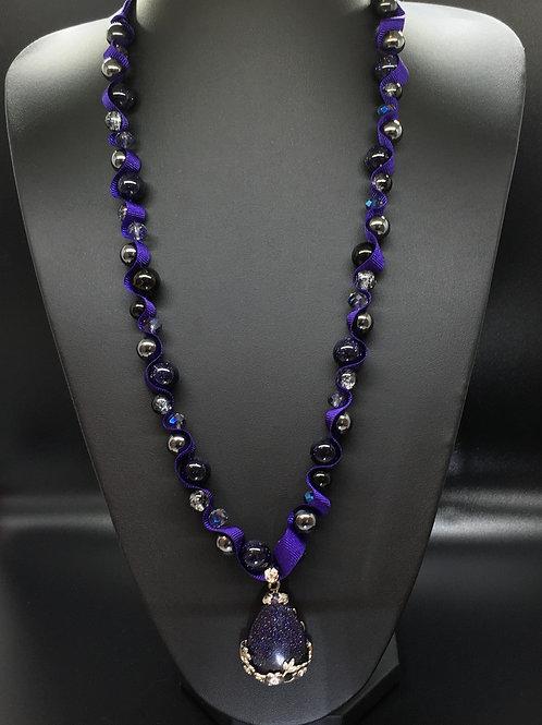 Purple Goldstone Teardop Necklace