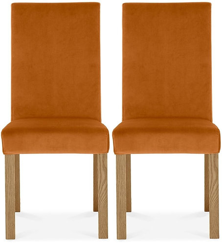 Parker Light Oak Square Back Chair (pair) - Harvest Pumpkin Velvet