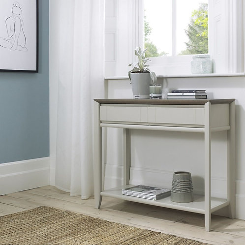 Bergen Grey Washed Oak and Soft Grey 2 Drawer Console Table