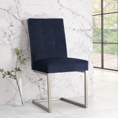 Tivoli Upholstered Cantilever Chair (pair) - Blue Velvet