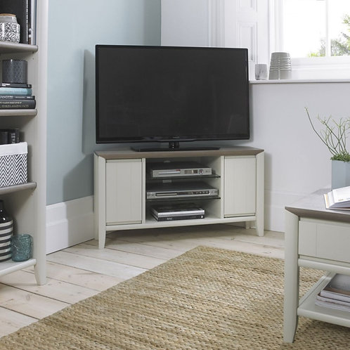 Bergen Grey Washed Oak and Soft Grey 2 Door Corner Entertainment