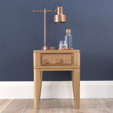 High Park Oak Lamp Table with Drawer