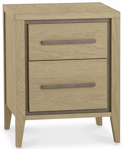 Rimini Aged and Weathered Oak 2 Drawer Bedside Cabinet