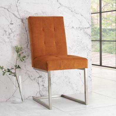 Tivoli Upholstered Cantilever Chair (pair) - Harvest Pumpkin Velvet