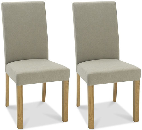 Parker Light Oak Square Back Chair (pair) - Silver Grey Fabric