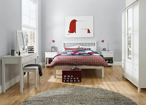 Atlanta Soft White Bedroom Set with Low Foot End Bed