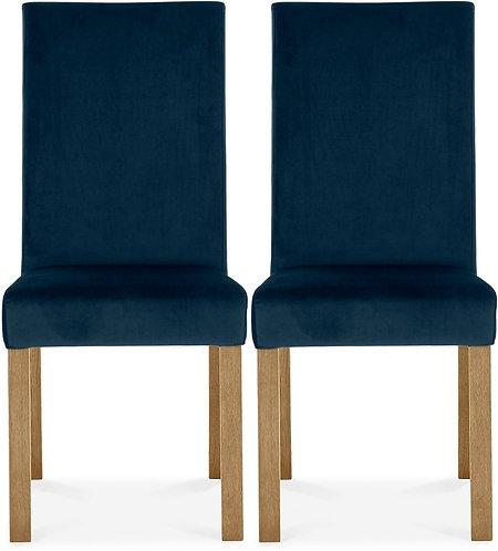 Parker Light Oak Square Back Chair (pair) - Dark Blue Velvet