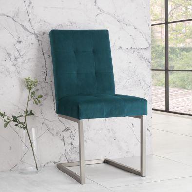 Tivoli Upholstered Cantilever Chair (pair) - Sea Green Velvet