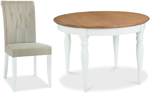 Hampstead 4-6 Two Tone Round Extending Dining Set with Upholstered Chairs