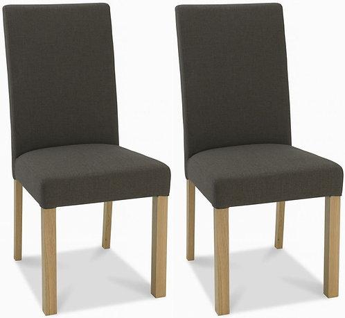 Parker Light Oak Square Back Chair (pair) - Black Gold Fabric