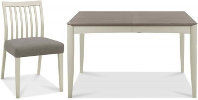 Bergen Grey Washed Oak and Soft Grey Rectangular Dining Set with Titanium Chairs