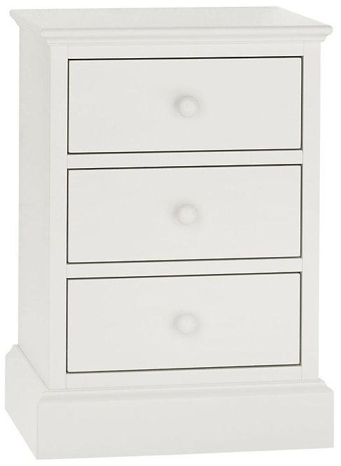 Ashby White 3 Drawer Bedside Cabinet