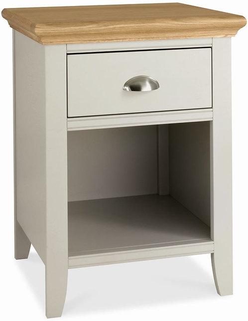 Hampstead Soft Grey and Oak 1 Drawer Bedside Cabinet