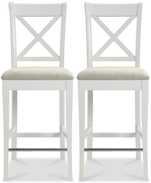 Two Tone X Back Bar Stool with Ivory Bonded Leather seat