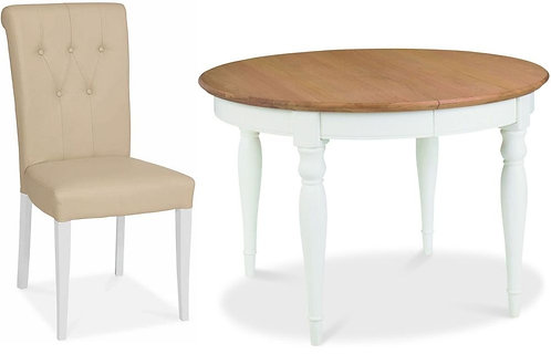 Hampstead 4-6 Two Tone Round Extending Dining Set with Ivory Bonded