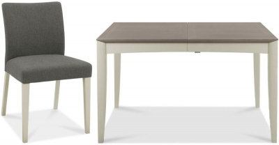 Bergen Grey Washed Oak and Soft Grey Dining Set with Cold Steel Chairs