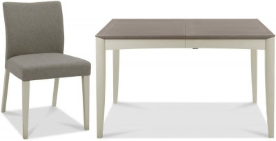 Bergen Grey Washed Oak & Soft Grey Extending Dining Set with Titanium Chairs