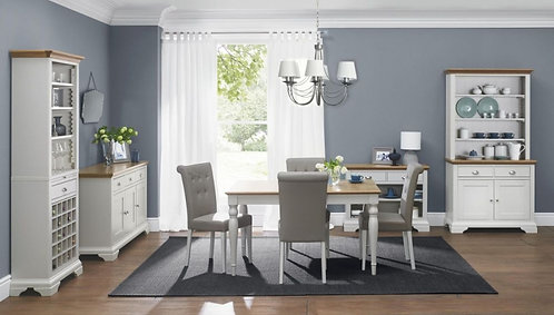 Hampstead Soft Grey and Oak Rectangular Extending Dining Set wit