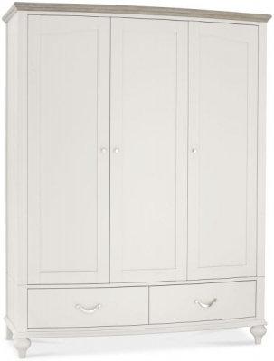 Montreux Grey Washed Oak and Soft Grey 3 Door Triple Wardrobe