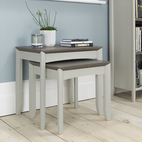 Bergen Grey Washed Oak and Soft Grey Nest of 2 Tables