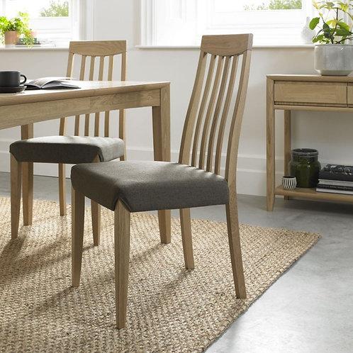 Bergen Oak Black Gold Fabric Slat Back Dining Chair (Pair)