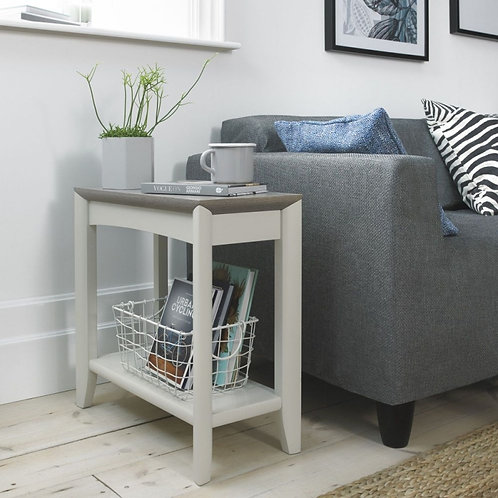 Bergen Grey Washed Oak and Soft Grey Side Table