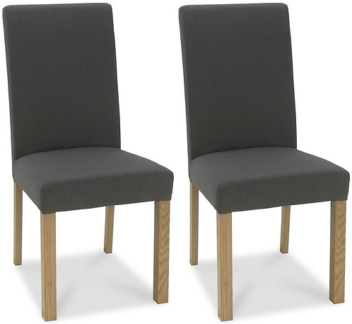 Parker Light Oak Square Back Chair (pair) -Cold Steel Fabric