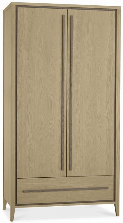 Rimini Aged and Weathered Oak 2 Door Double Wardrobe