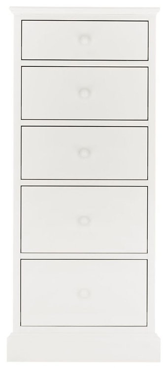 Ashby White 5 Drawer Tall Chest