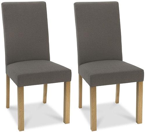 Parker Light Oak Square Back Chair (pair) - Titanium Fabric