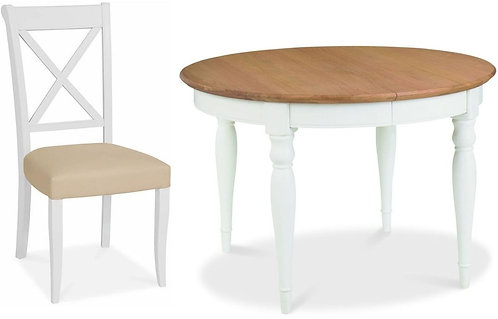 Hampstead 4-6 Two Tone Round Extending Dining Set with X Back Ivory