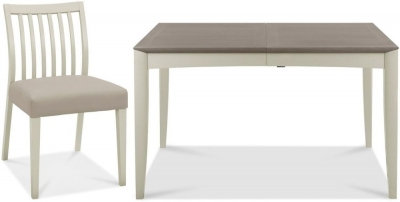 Bergen Grey Washed Oak and Soft Grey Dining Set, Grey Bonded Leather Chair