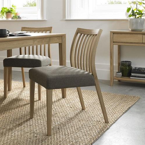 Bergen Oak Black Gold Fabric Low Slat Back Dining Chair (Pair)
